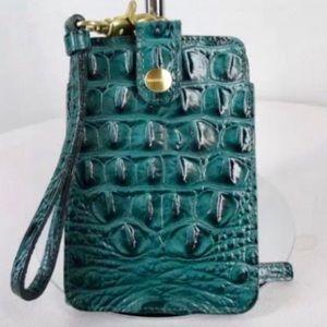 BRAHMIN Emerald Wristlet in Croc Emboss Leather